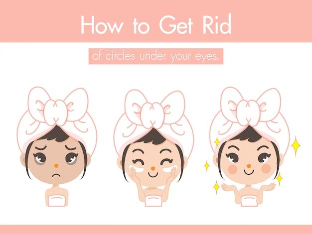 La jeune fille démontre la crème sous les yeux pour se débarrasser des marques ternes et des rides afin de rendre le visage plus clair et plus jeune. Vecteur Premium
