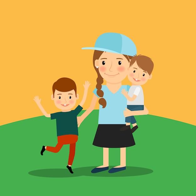 Jeune fille et deux garçons Vecteur Premium