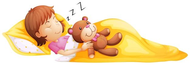 Une jeune fille dormant avec son jouet Vecteur gratuit