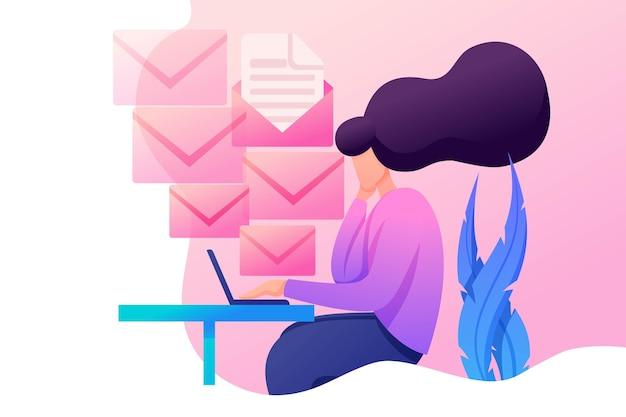 Jeune Fille Est Engagée Dans L'envoi De Messages, Un Employé De Bureau Au Travail. Caractère Plat 2d. Concept Pour Le Web De Vecteur Premium