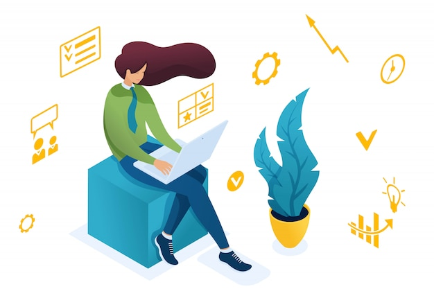 Jeune fille est engagée dans la planification des activités sur un ordinateur portable. Vecteur Premium