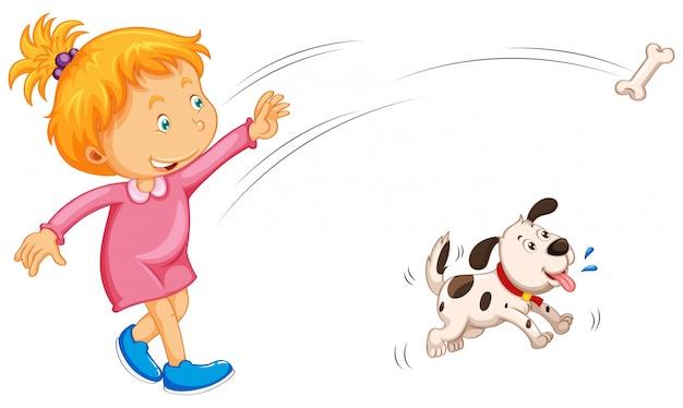Jeune fille jetant un os et un chien l'attrapant Vecteur gratuit