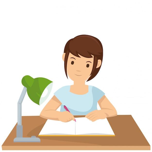 Jeune fille résume les notes de cours Vecteur Premium