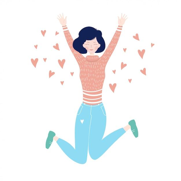 Jeune fille sautant de bonheur. sauter fille avec des coeurs. Vecteur Premium