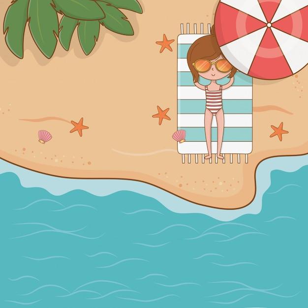 Jeune fille sur la scène de la plage Vecteur Premium