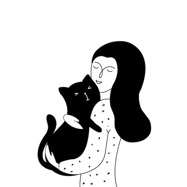 Jeune fille et son chat Vecteur Premium