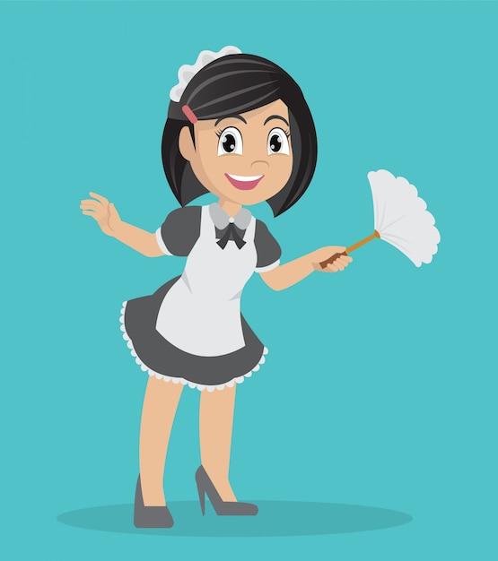 Jeune fille tenant un chiffon de nettoyage. Vecteur Premium