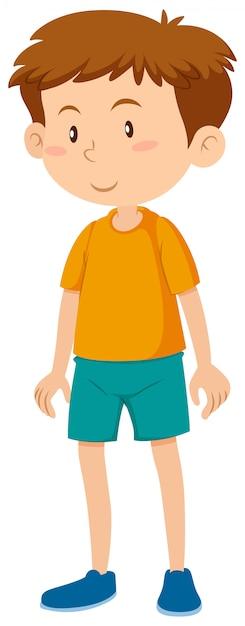 Un jeune garçon brune Vecteur gratuit