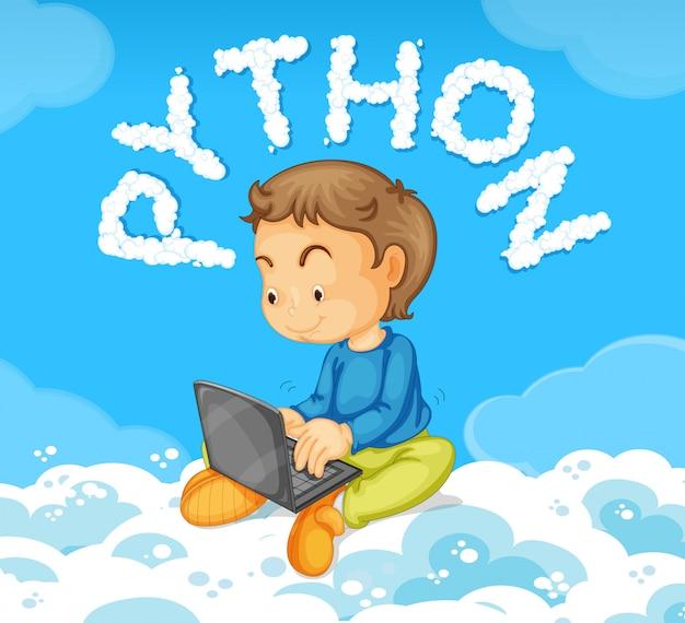 Jeune garçon sur le concept de python pour ordinateur portable Vecteur gratuit