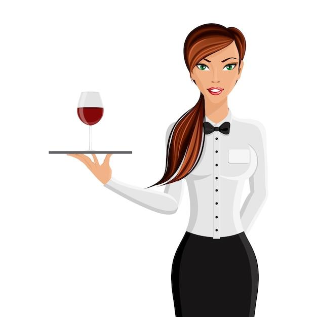 Jeune garçon de fille sexy avec un plateau et un verre de vin Portrait isolé sur fond blanc illustration vectorielle Vecteur gratuit