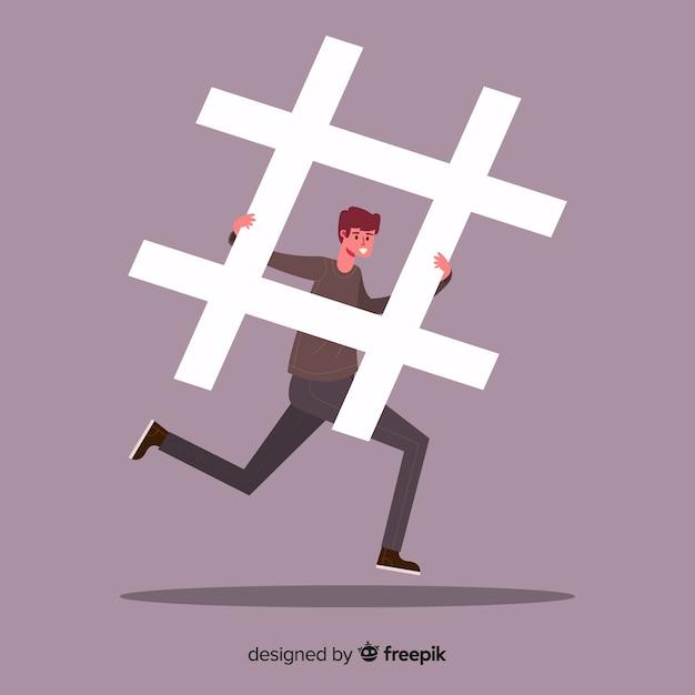 Jeune garçon avec hashtag Vecteur gratuit