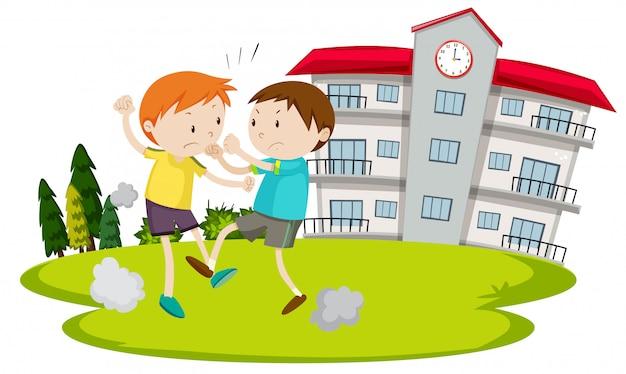 Jeune garçon se battant devant l'école Vecteur gratuit