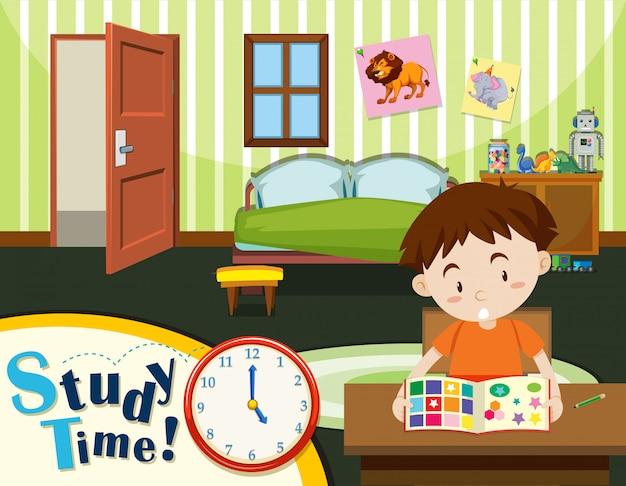 Jeune garçon temps d'étude Vecteur gratuit