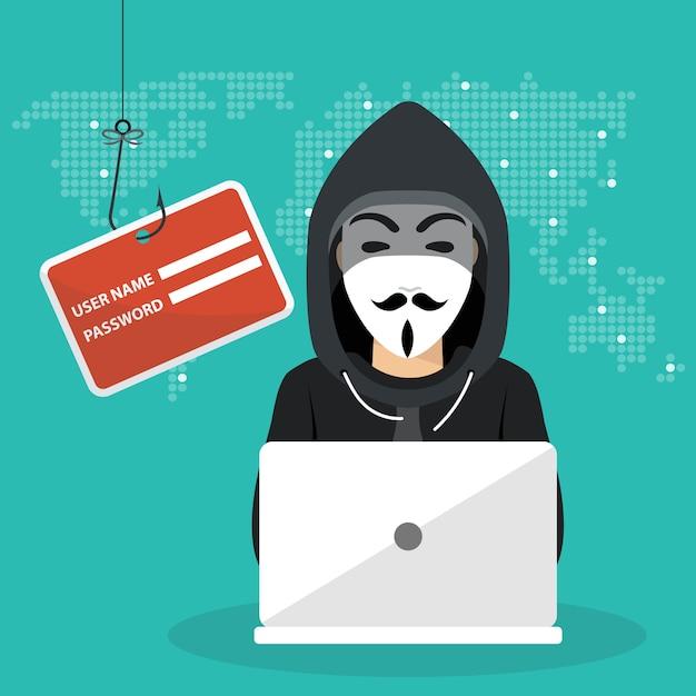 Jeune hacker utilisant un ordinateur portable pour pirater le système de protection Vecteur Premium