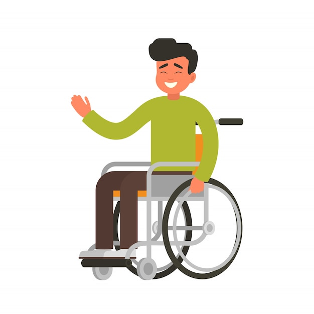 Jeune heureux assis dans un fauteuil roulant Vecteur Premium