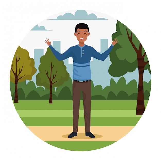 Jeune homme d'affaires dans le parc Vecteur gratuit