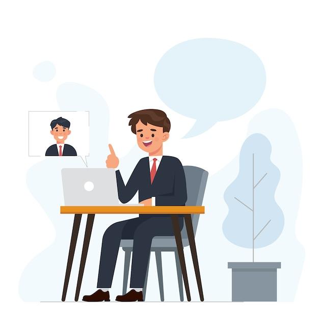 Jeune homme d'affaires fait un appel vidéo avec des partenaires commerciaux Vecteur Premium