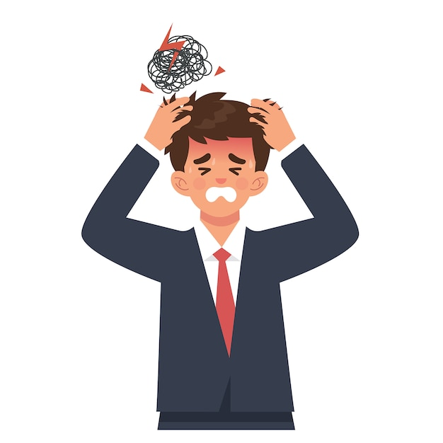 Jeune homme d'affaires tient la tête à cause de maux de tête ou de surcharge Vecteur Premium