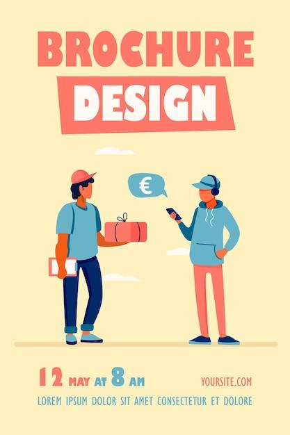 Jeune Homme à L'aide De L'application Smartphone Pour Payer Le Modèle De Flyer De Commande De Livraison Vecteur gratuit