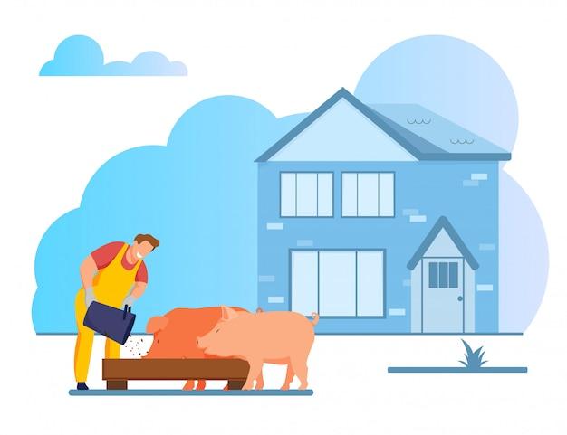 Jeune homme, alimentation, porcs, mettre, grain, dans, auge Vecteur Premium