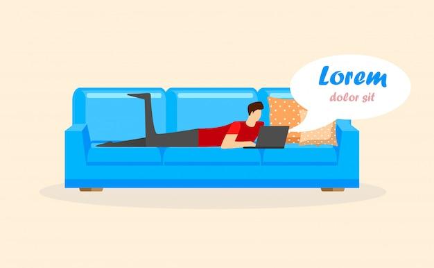 Jeune homme allongé sur le canapé avec ordinateur portable isolé. Vecteur Premium