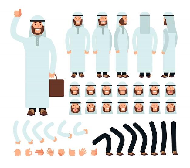 Jeune Homme Arabe En Costume Saoudien Islamique Traditionnel. Création De Personnage Avec Visage Dans Différentes émotions Et Parties Du Corps Vecteur Premium