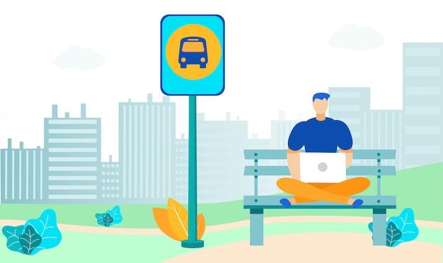 Jeune homme à l'arrêt de bus illustration plate Vecteur Premium