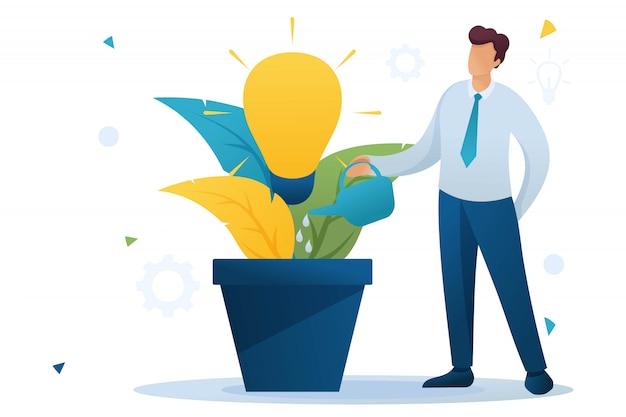 Jeune Homme Arrose Un Pot Avec Une Idée D'entreprise En Pleine Croissance, Une Création D'entreprise. Caractère Plat. Concept Pour La Conception Web Vecteur Premium