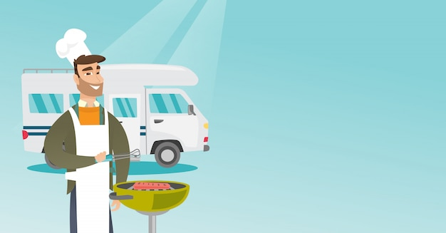 Jeune homme au barbecue de viande devant le camping-car. Vecteur Premium