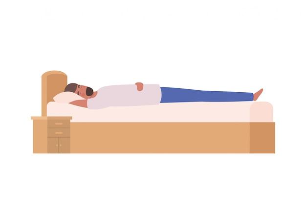 Jeune homme au lit avec pose de sommeil Vecteur Premium