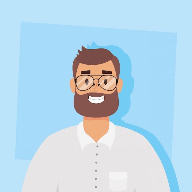 Jeune Homme Avec Barbe Avatar Caractère Vector Illustration Design Vecteur Premium
