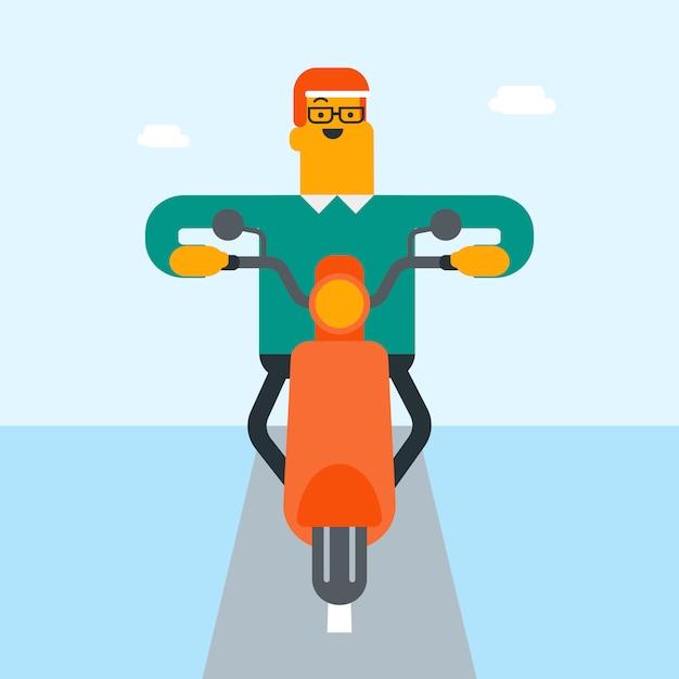 Jeune homme blanc caucasien, conduisant une moto. Vecteur Premium