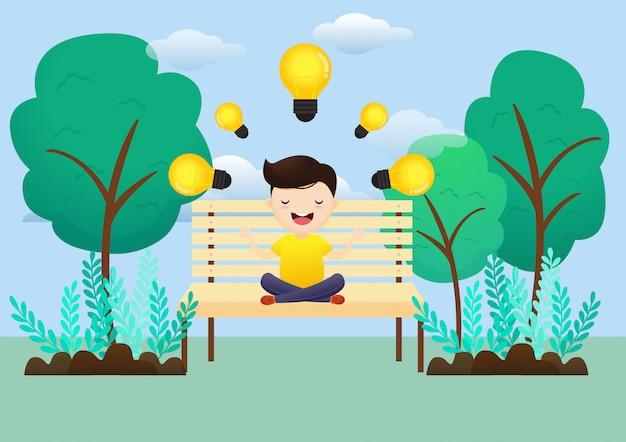 Jeune homme une bonne idée de méditation assis dans le parc. Vecteur Premium