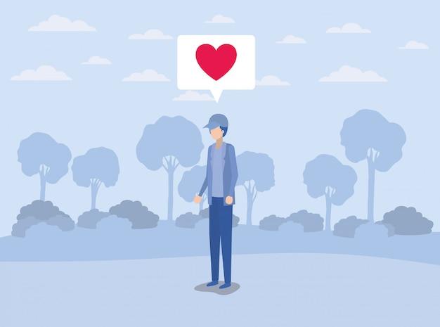Jeune homme avec coeur dans la bulle sur le camp Vecteur Premium