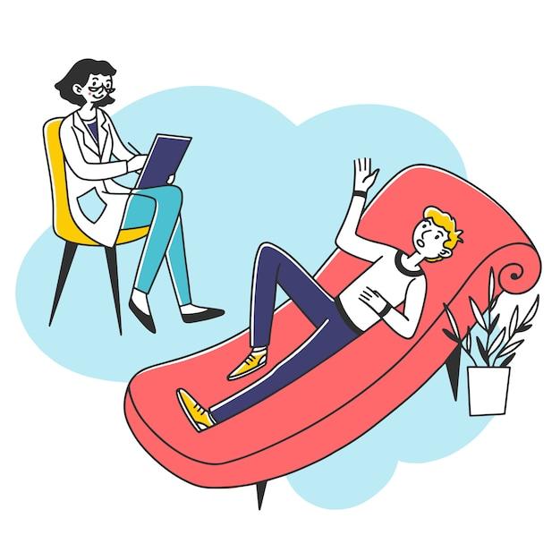 Jeune Homme Consultant Psychologue Vecteur Premium