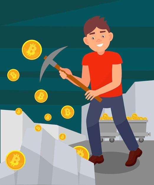 Jeune Homme Creusant Des Pièces De Roche Avec Pioche, Homme Minant Des Bitcoins, Technologie D'extraction De Crypto-monnaie Illustration Dans Le Style Vecteur Premium