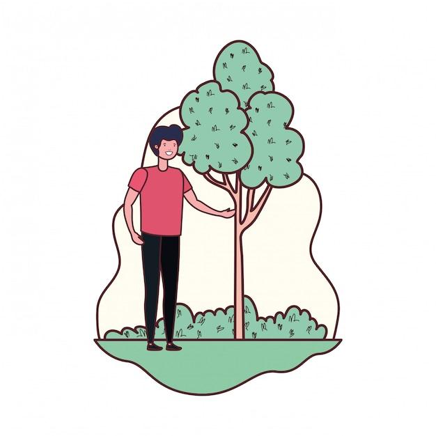 Jeune homme dans un paysage avec des arbres et des plantes Vecteur gratuit