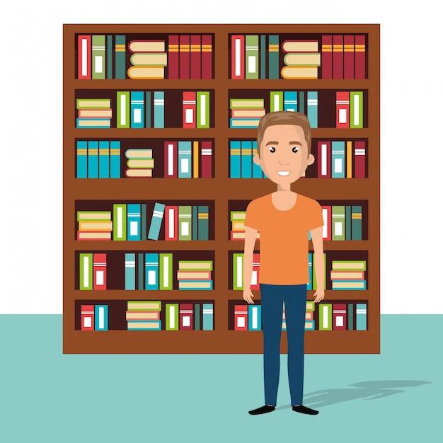 Jeune homme dans la scène de personnage de bibliothèque Vecteur gratuit