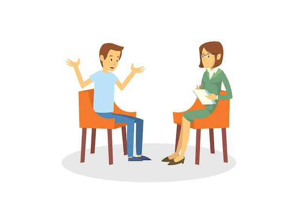 Un jeune homme déprimé en consultation psychologue Vecteur Premium