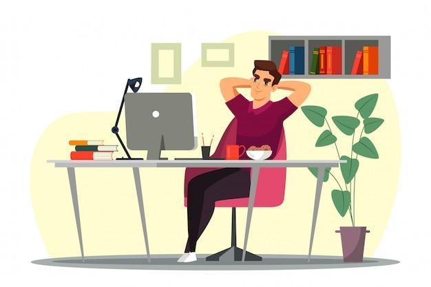 Jeune Homme Est Assis Sur Sa Chaise Au Bureau à Domicile Vecteur Premium