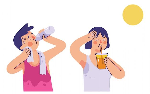Jeune Homme Et Femme Buvant De L'eau Et Du Jus D'orange Pendant Les Chaudes Journées D'été Vecteur Premium
