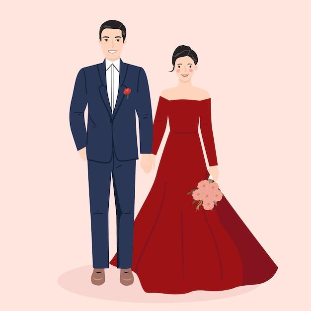 Jeune Homme Et Femme, Couple Mariée Et Le Marié En Mariage, Robe Formelle. Illustration Vectorielle à La Mode Vecteur Premium