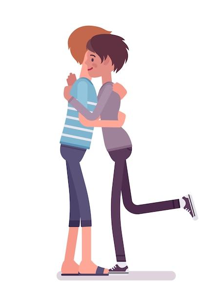 Jeune homme et femme donnant un gros câlin Vecteur Premium