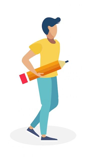 Jeune Homme, à, Grand, Crayon, Illustration Vecteur Premium