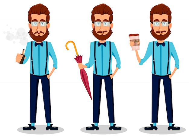 Jeune homme hipster barbu à lunettes Vecteur Premium