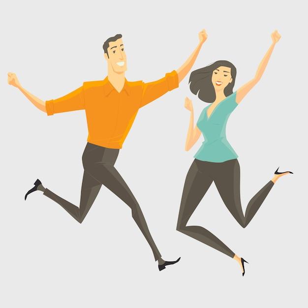 Un jeune homme et une jeune femme sautant, souriant et heureux. Vecteur Premium
