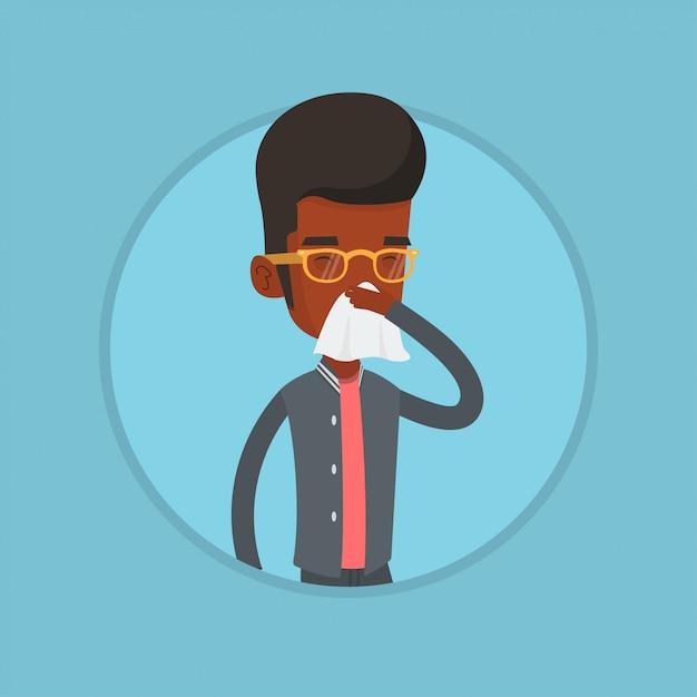 Jeune Homme Malade Afro-américain éternuements. Vecteur Premium