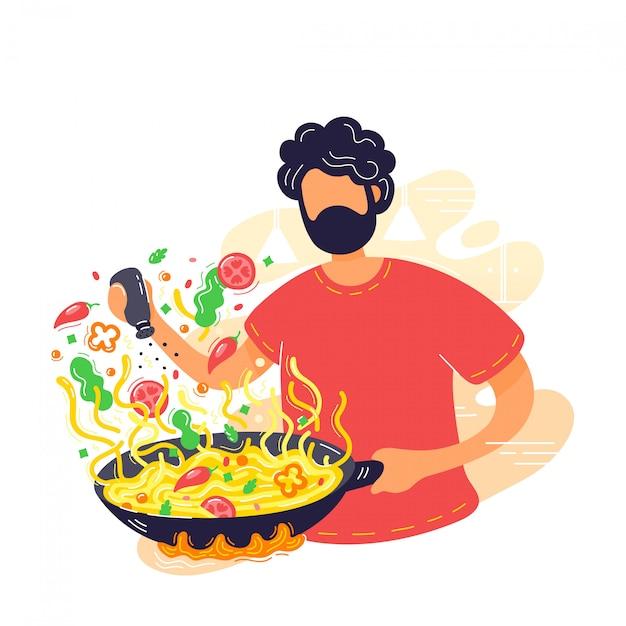 Jeune homme, nouilles, dans, wok, poêle Vecteur Premium