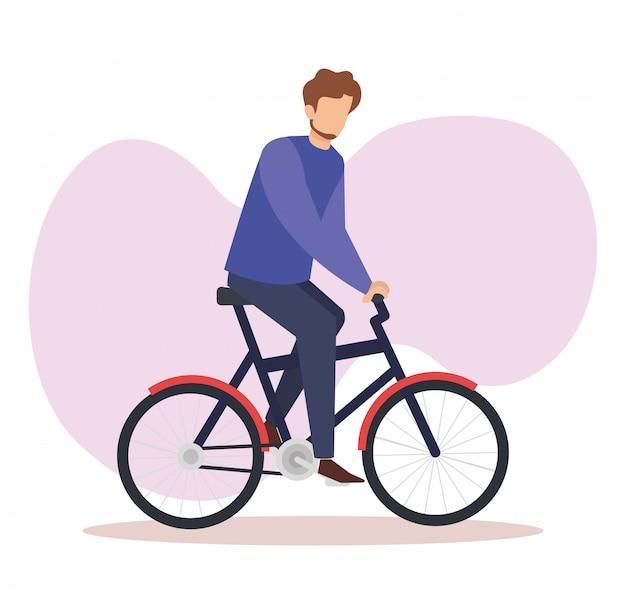Jeune homme en personnage d'avatar de bicyclette Vecteur gratuit