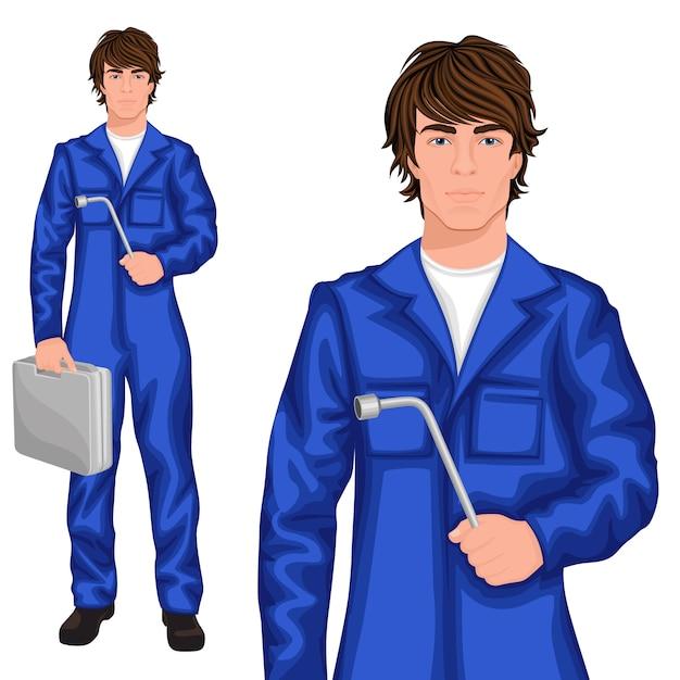 Jeune homme personnage de mécanicien Vecteur Premium